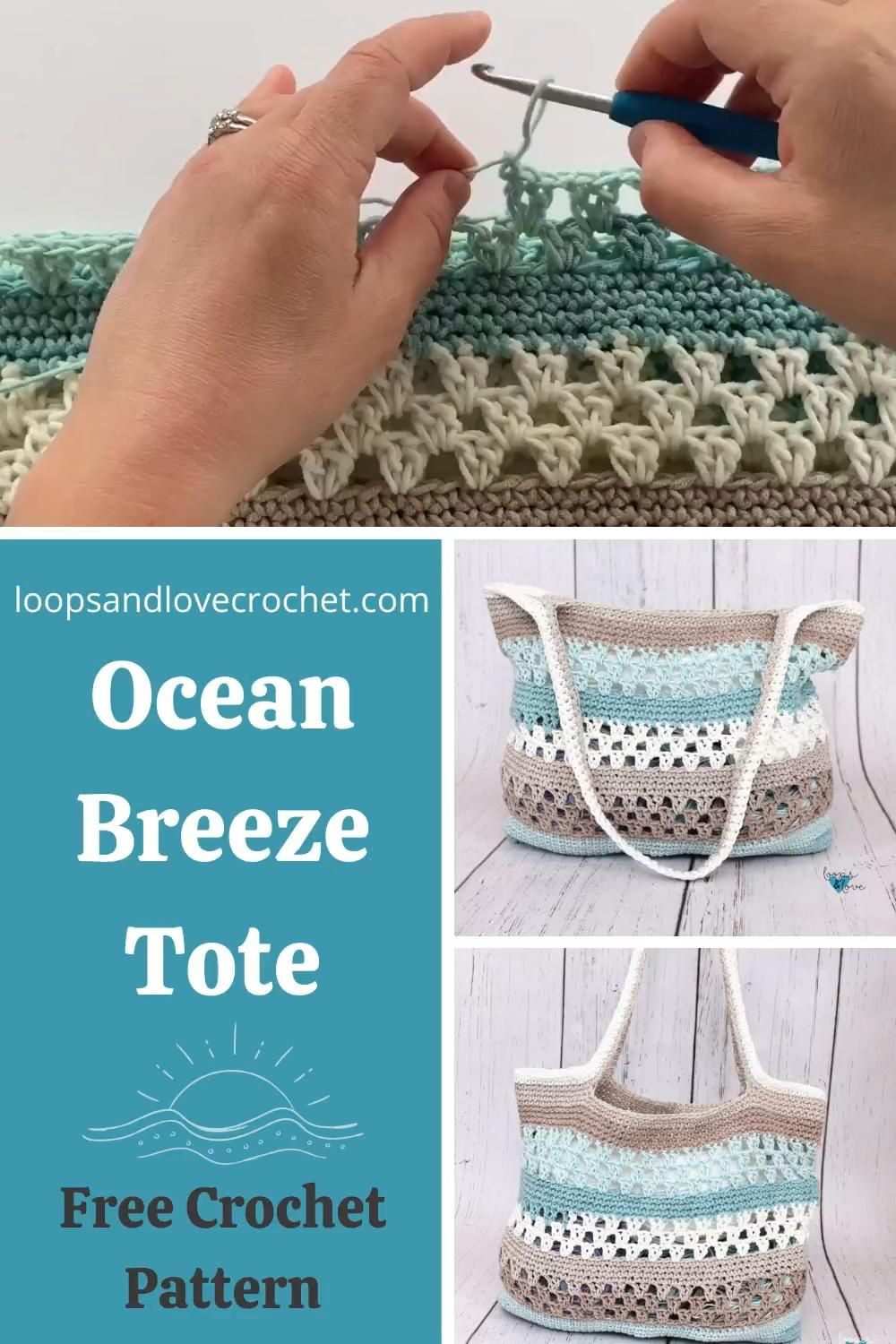 The Ocean Breeze Tote is a nice and roomy crochet tote bag that has lots of fun texture. This bag is a great size to hold everything for the adventures in your life, from day trips to summer markets, or shopping to lake, pool, or beach days! I hope you love making the Ocean Breeze Tote! Free crochet pattern by Loops and Love Crochet.