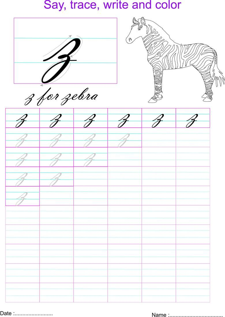 Cursive small letter z worksheet Cursive small letters