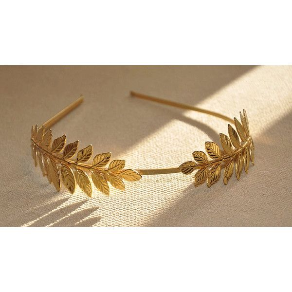 Elegant Sterling Bridal Wedding Headpiece Golden Leaves Beads Greek Headband