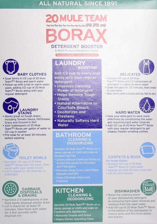 Borax 20 Mule Team Detergent Booster 65 Oz Borax Uses Fleas