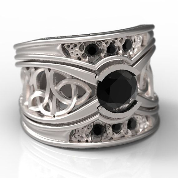 Celtic Black Sapphire Engagement Ring With Matching Trinity Knot Bands In Sterling Silver Made In Your Size Cr 1026 Black Sapphire Engagement Rings Engagement Rings Sapphire Celtic Wedding Rings