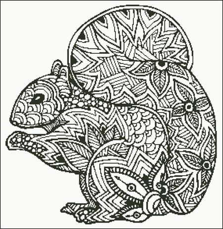 Zentangle Squirrel Silhouette Relaxing Coloring Book Zentangle