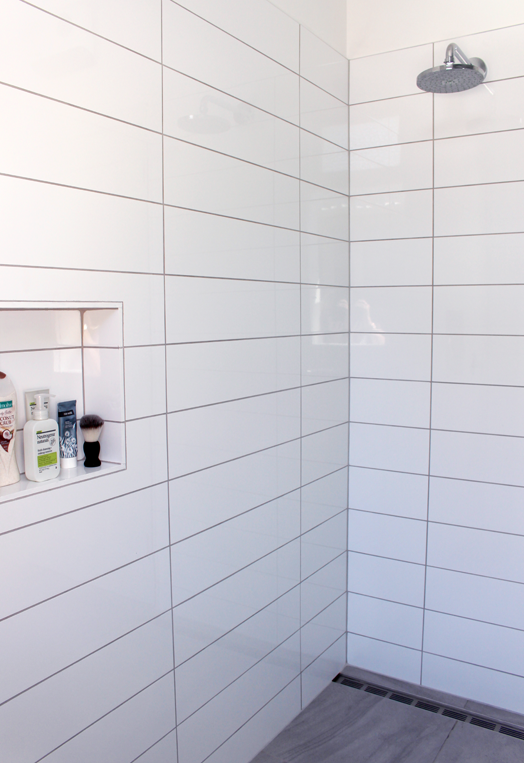 Grey Concrete Tile In The Walk In Shower White Bathroom