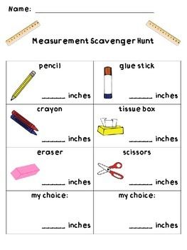 this fun measurement scavenger hunt has students measuring various school supplies in inches. Black Bedroom Furniture Sets. Home Design Ideas
