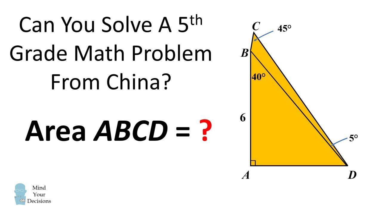 Can You Solve A 5th Grade Problem From China Find The Area Of Abcd Math Worksheets Math Challenge Math [ 720 x 1280 Pixel ]