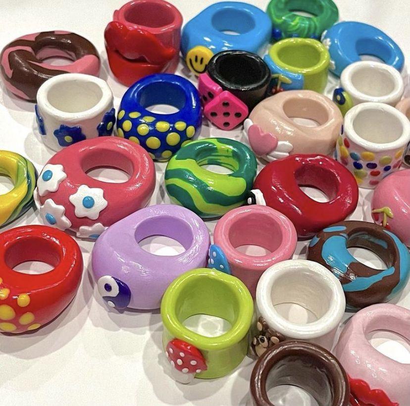 Handmade chunky clay rings
