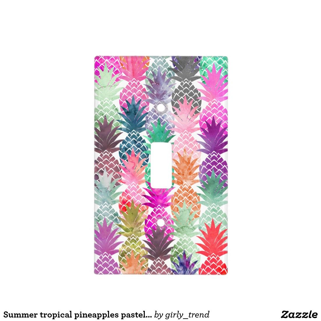 Summer tropical pineapples pastel watercolor light switch cover