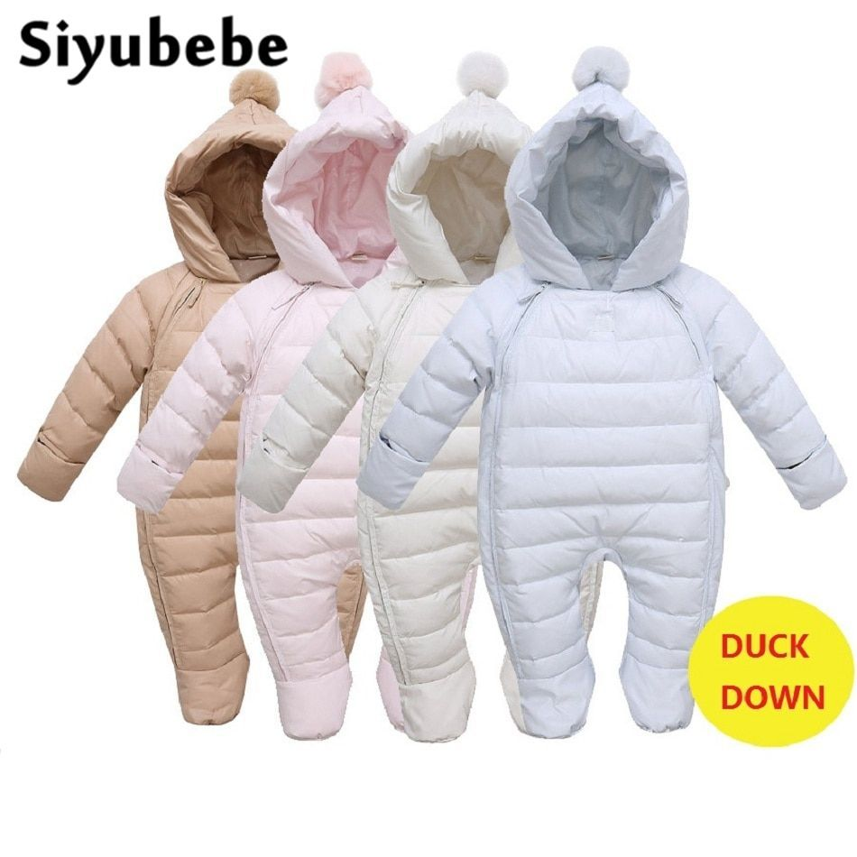 beff7cb299ca Baby Rompers Newborn Baby Girl Duck Down Winter Snowsuit Infant Baby ...
