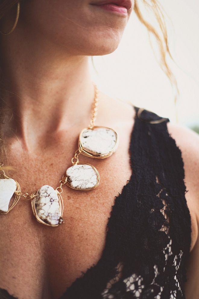Amazing wrapped stone bridal necklace!