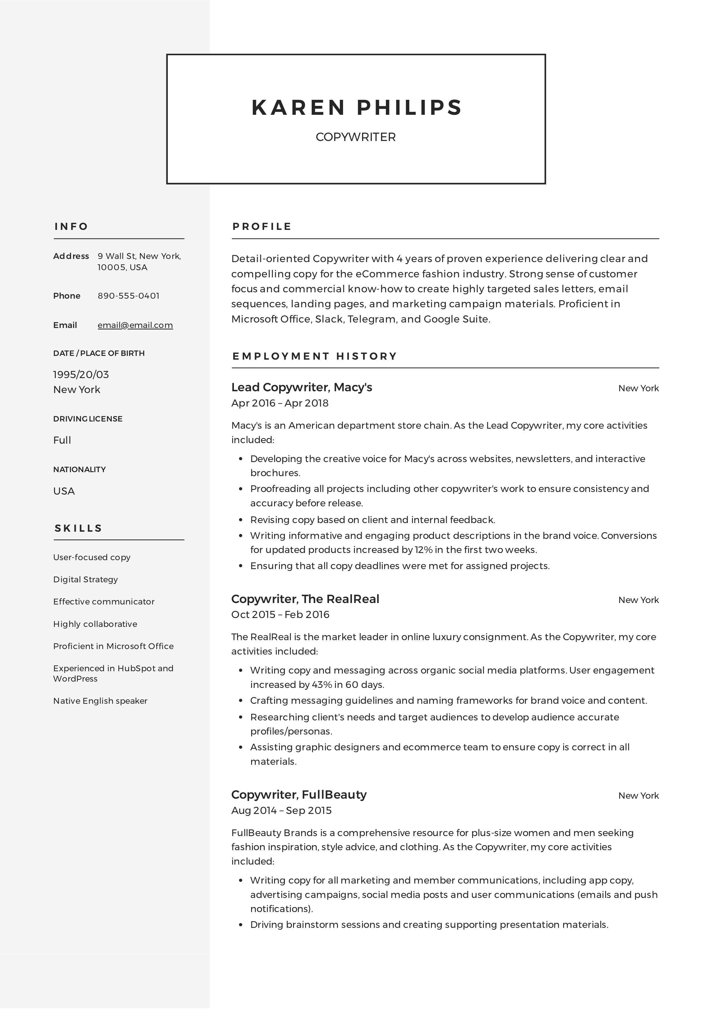 Copywriter Resume & Writing Guide in 2020 Web designer