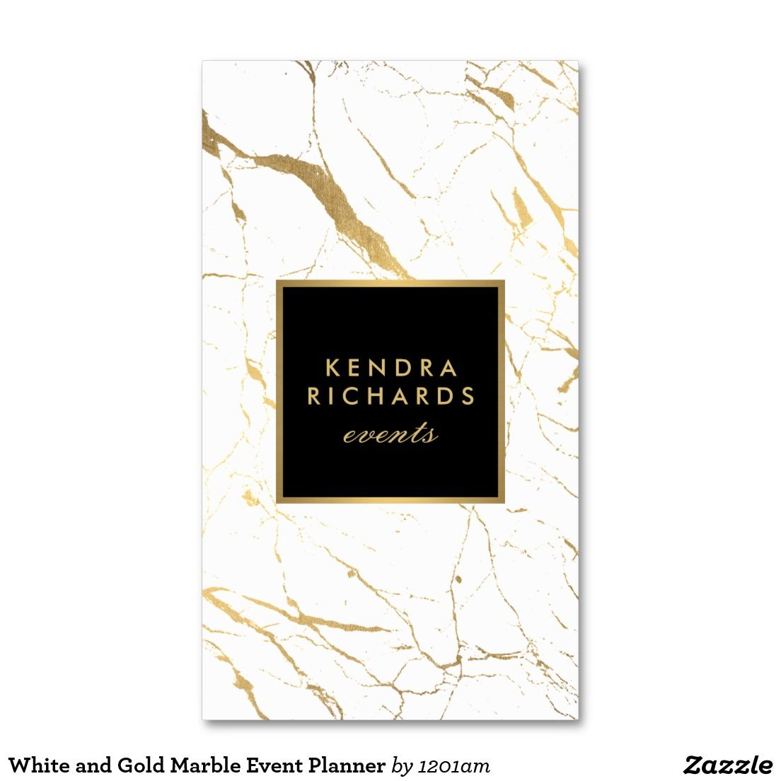Wedding Planner Names Ideas: White And Gold Marble Event Planner Business Card