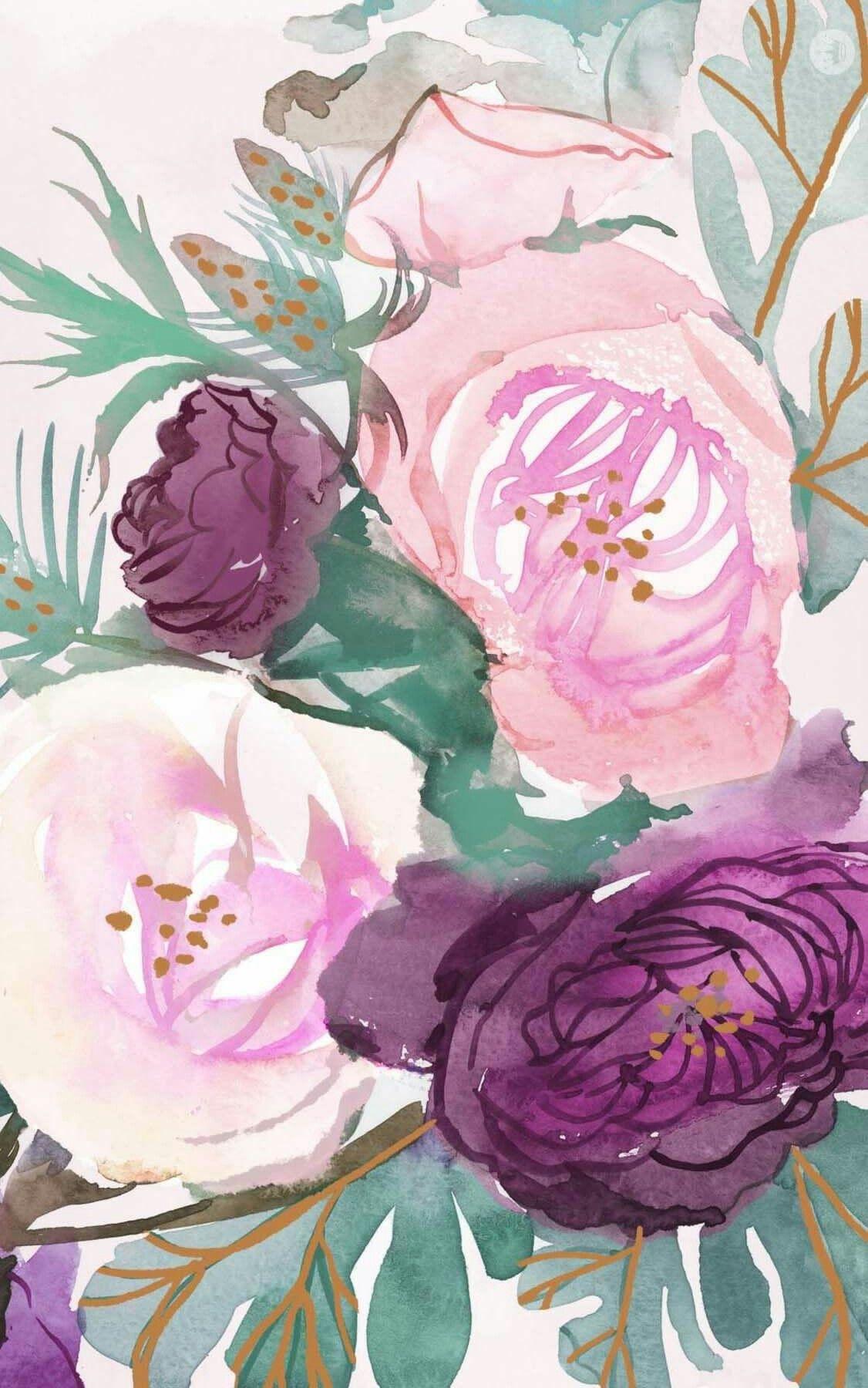 Wallpaper Iphone Papel Pintado Flores Fondos Acuarela