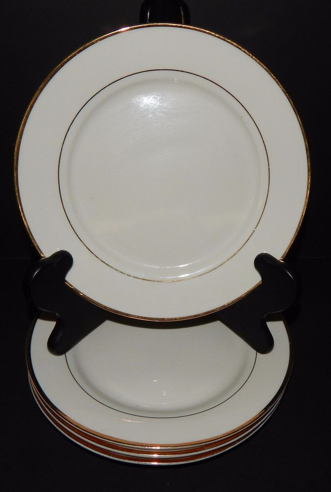 (4) GIBSON Designs Housewares EVERYDAY China White with Gold Rim BREAD PLATES #Gibson & 4) GIBSON Designs Housewares EVERYDAY China White with Gold Rim ...