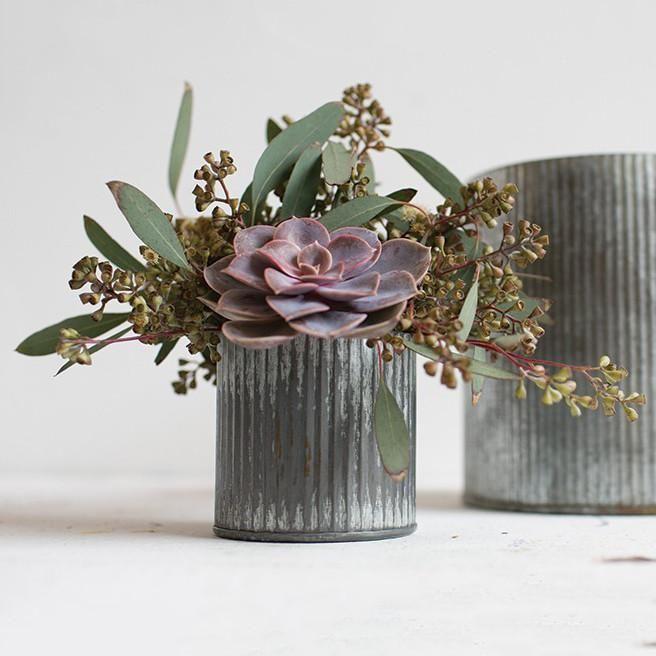 Norah Ridged Zinc Metal Vase 5 5 Wedding Vase Centerpieces Vase Metal Vase