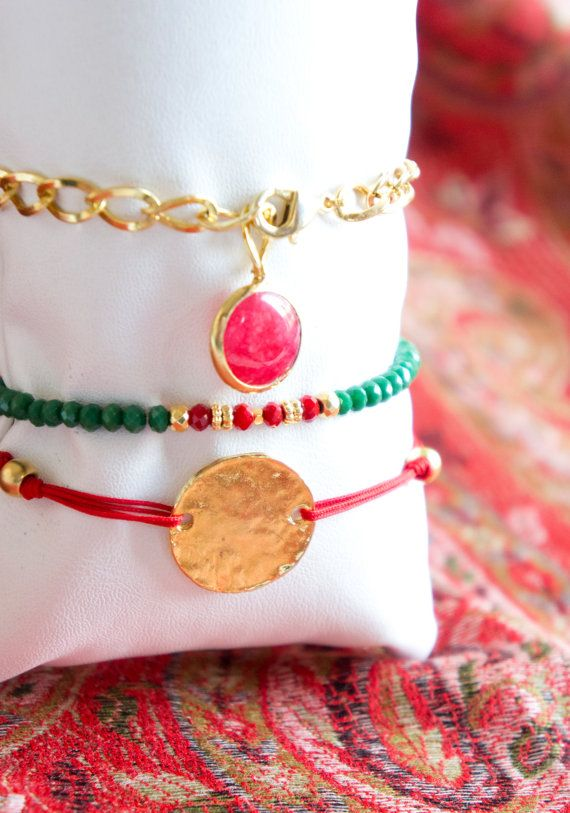 Red Authentic Bracelet Set, Macrome Swarovski Crystal Combination,Gold Plated Bracelet, Swarovski Bracelet, Bracelet Set, Multiple Bracelet,