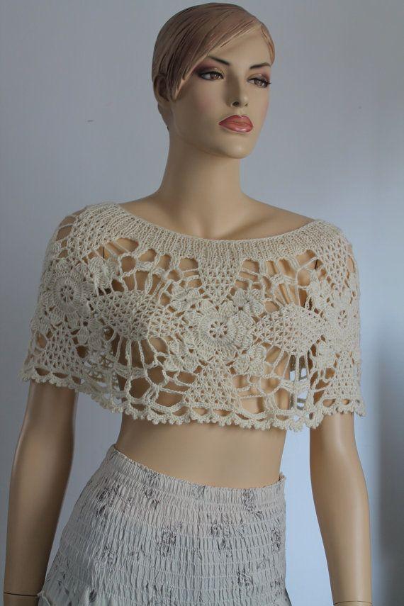 wedding crochet lace capelet poncho shrug bridal capelet shrug summer cover up ivory off. Black Bedroom Furniture Sets. Home Design Ideas