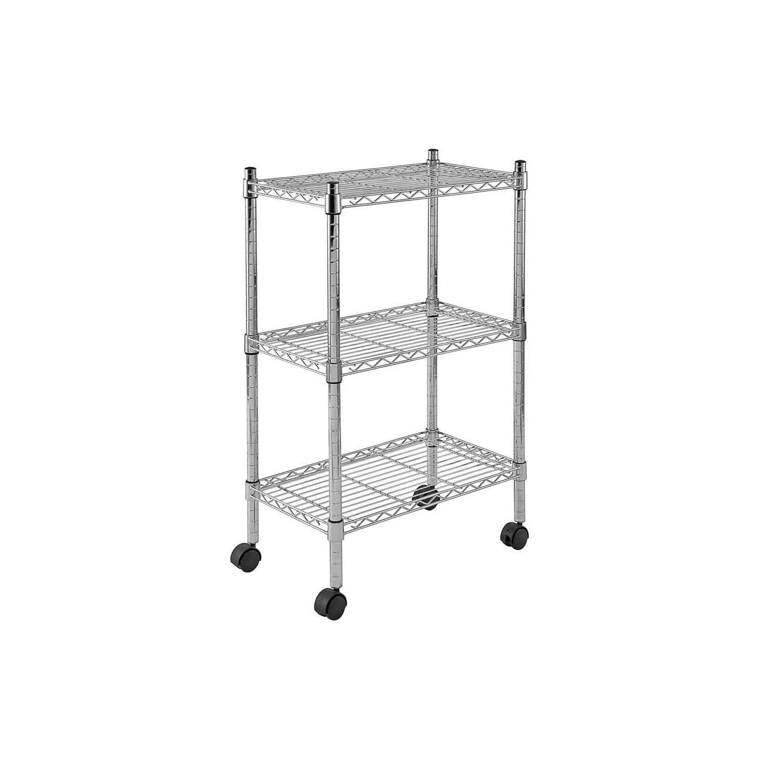 Sandusky Heavy Duty Chrome Mobile Wire 3 Shelf Shelving