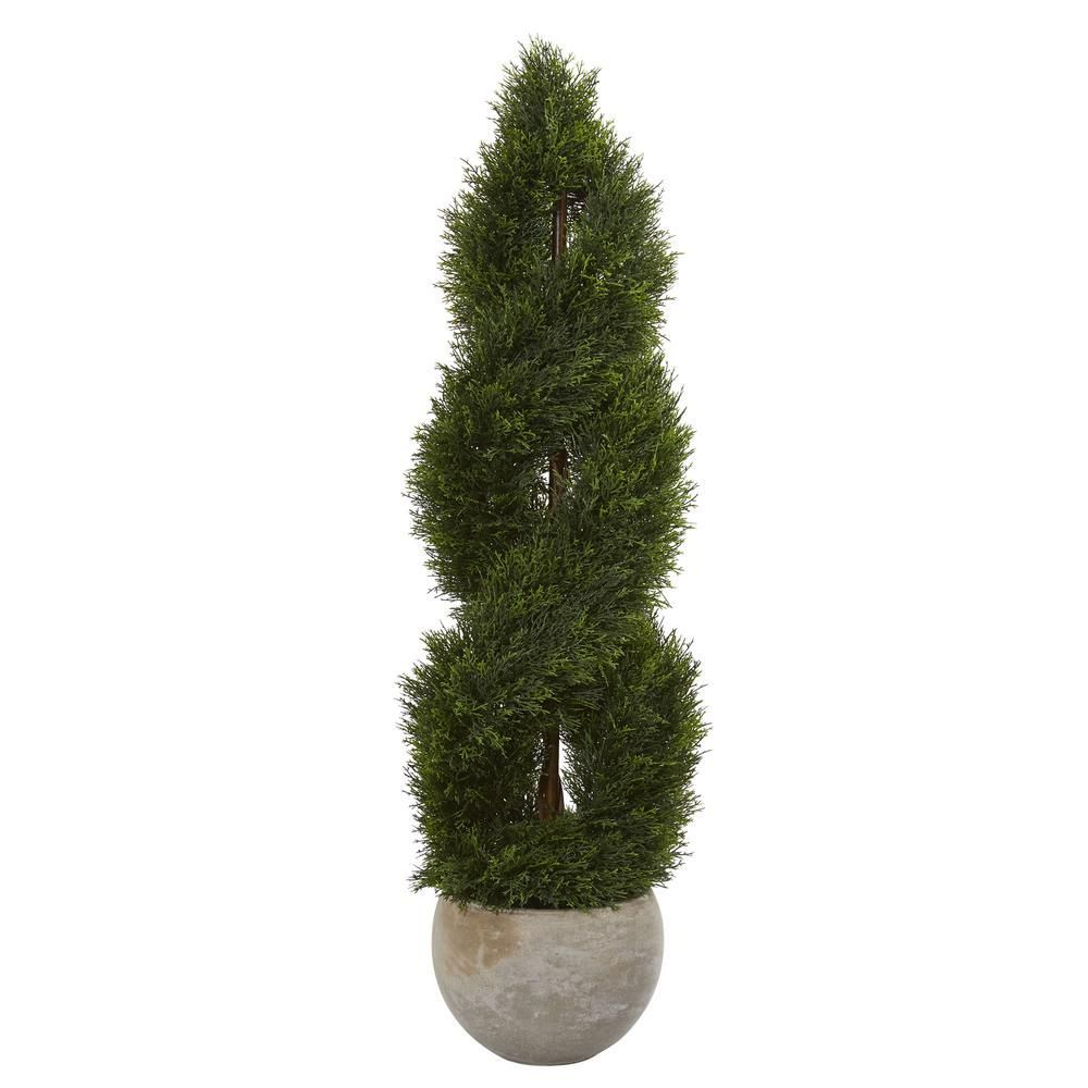 Nearly Natural 4 ft High IndoorOutdoor Double Pond Cypress Spiral Artificial Tree in Sand Planter 5765  The Home Depotartificial