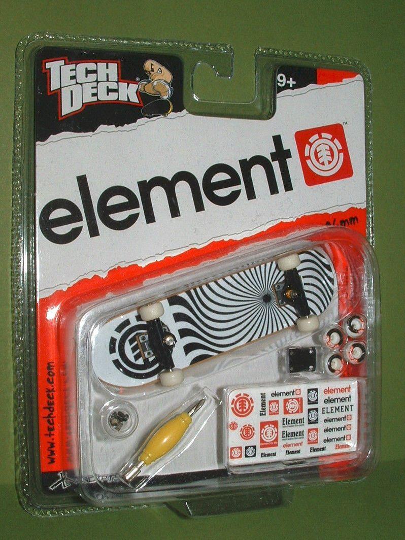 RARE Tech Deck ELEMENT Swirl BLACK TRUCKS Fingerboard 96mm