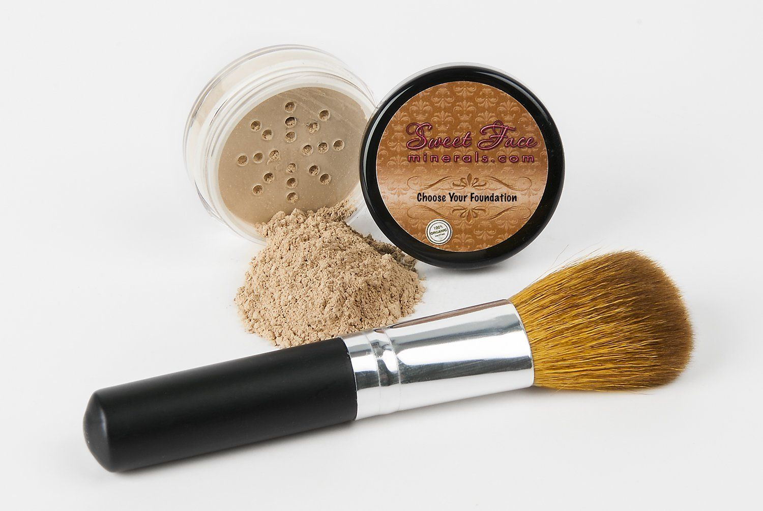 2 Pc FOUNDATION with FACE BRUSH Kit Mineral Makeup Set
