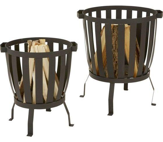 Klassische Feuerstelle aus Metall in Schwarz - sorgt für wohlige - feuerstelle fur den garten
