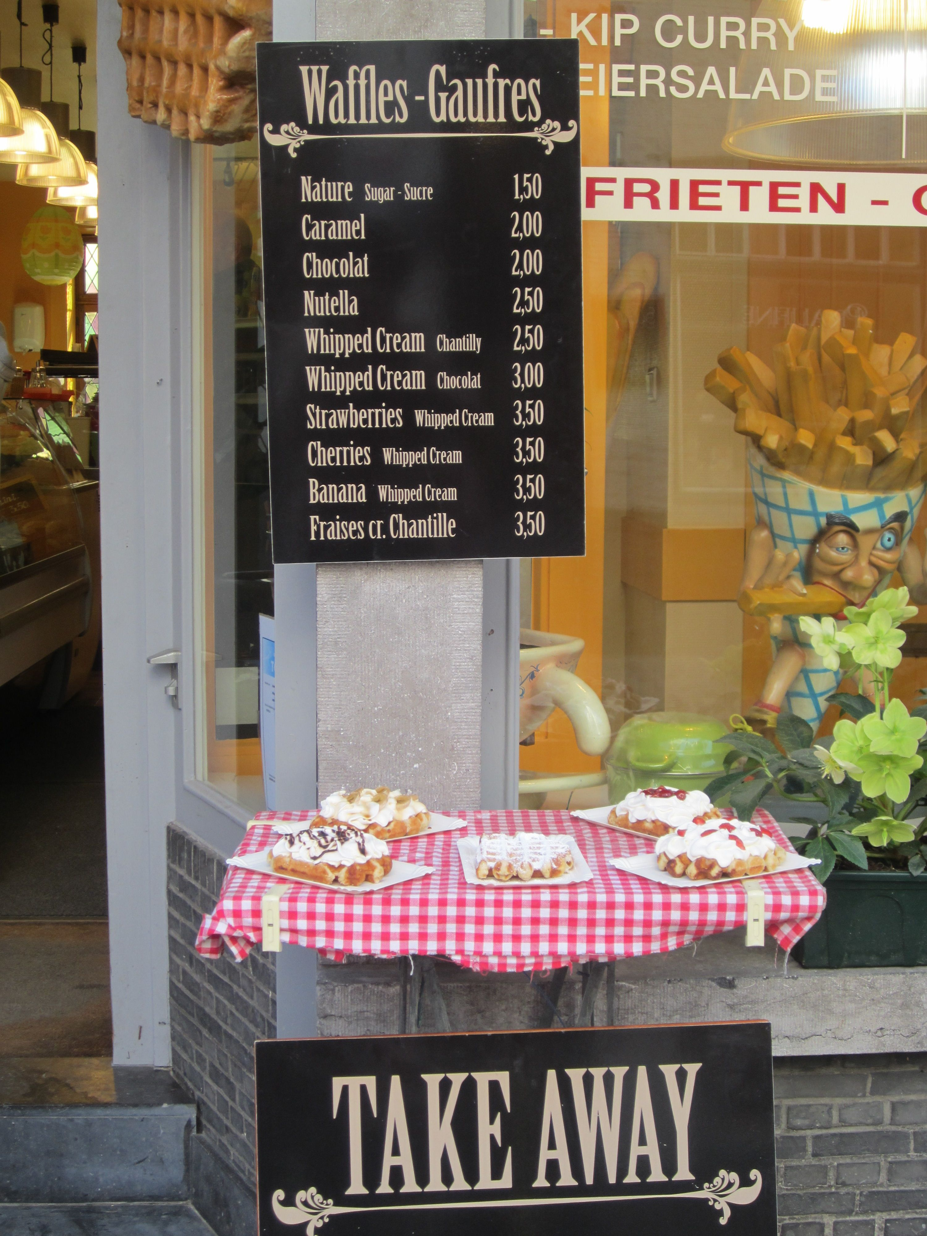 Brugges, Belgium.  Nothing better than the waffles and fries (they put mayonnaise on the fries).