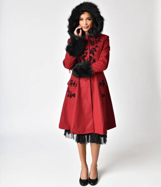 934df8b68bb08 Hell Bunny Burgundy   Black Faux Fur Sherwood Coat