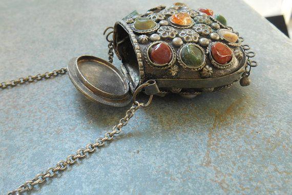 Vintage Prayer Box Necklace Tribal Afghan by JennyFindsVintage