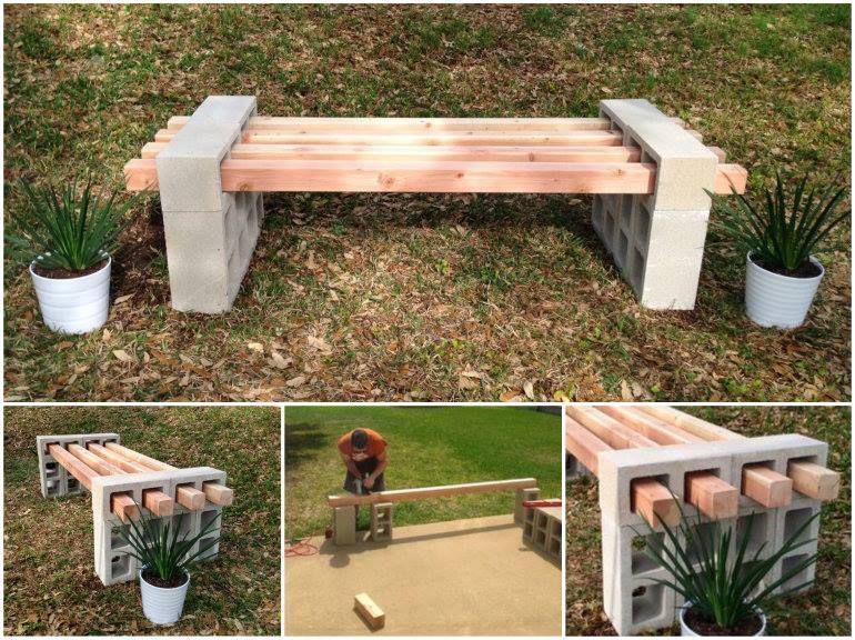 Wonderful diy cinder block bench cinder block bench for Besser block home designs