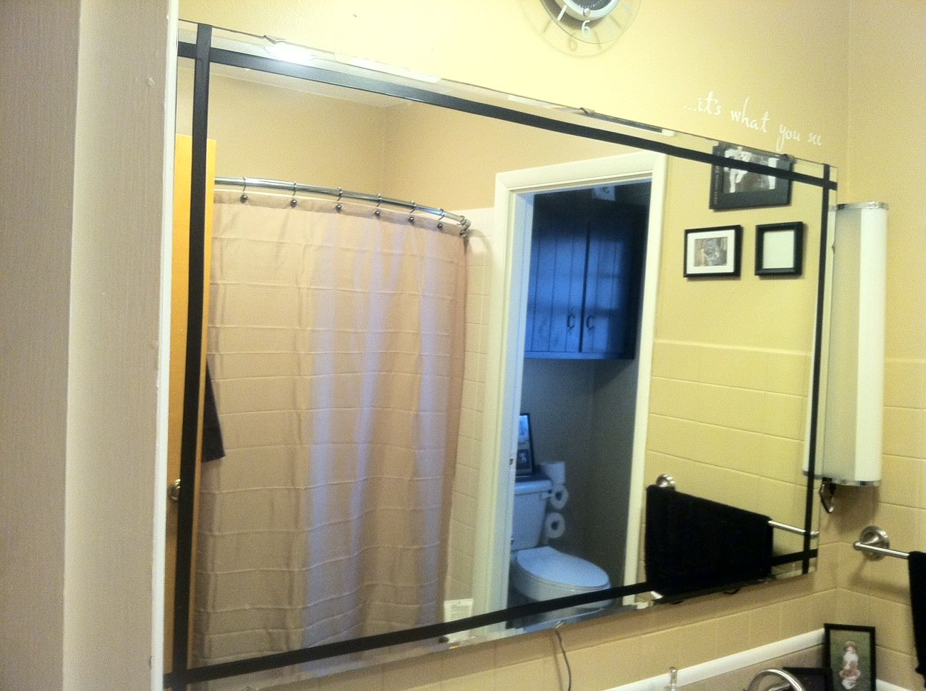 mirror border with electrical tape--- cool idea to dress up spaces ...