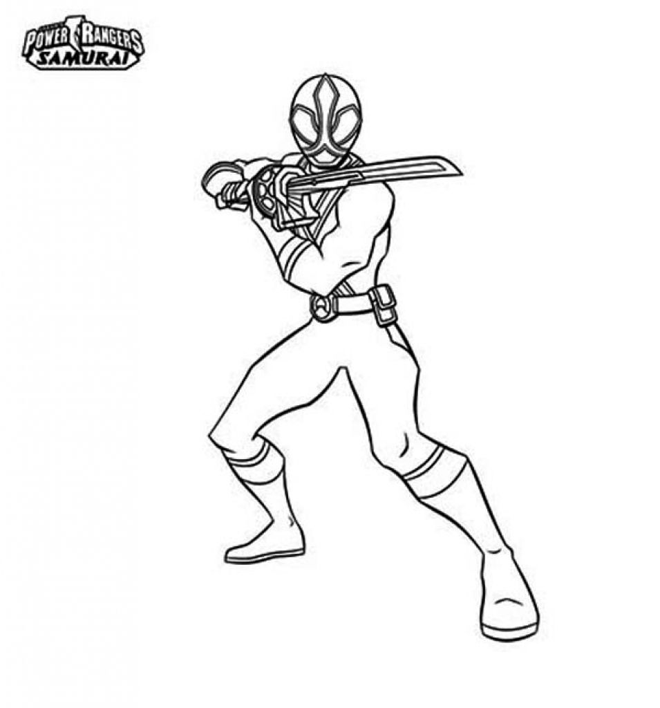 Red Ranger Of Power Rangers Samurai Holding Katana Coloring Page