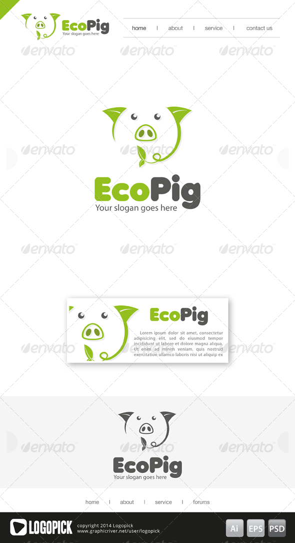 Eco Pig Logo Design Template Vector logotype Download it