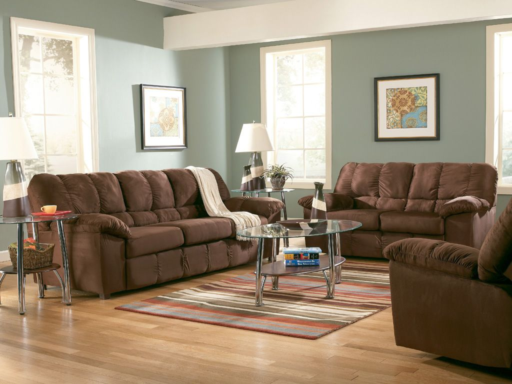 Pretty wall color like the white trim decorating ideas - Brown and green living room accessories ...