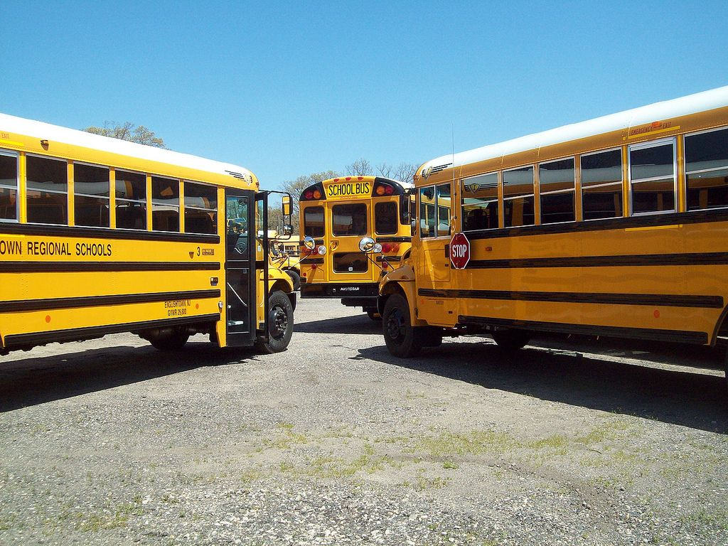 Buses at The Wolfington bus dealer in New Jersey School