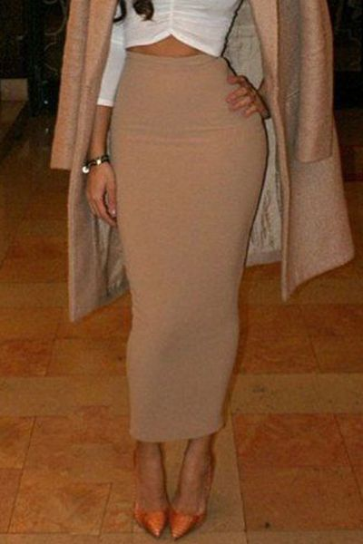 Pure Color High Waisted Bodycon Skirt | Skirts, Colors and Beige skirt