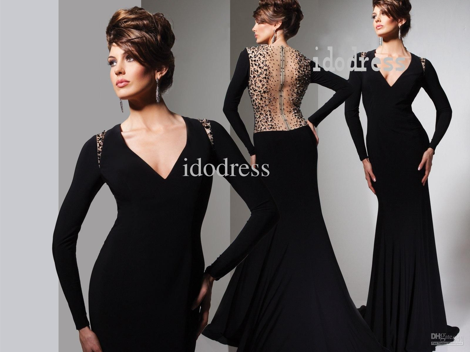 Black sexy evening dresses vneck sheath column hollow back