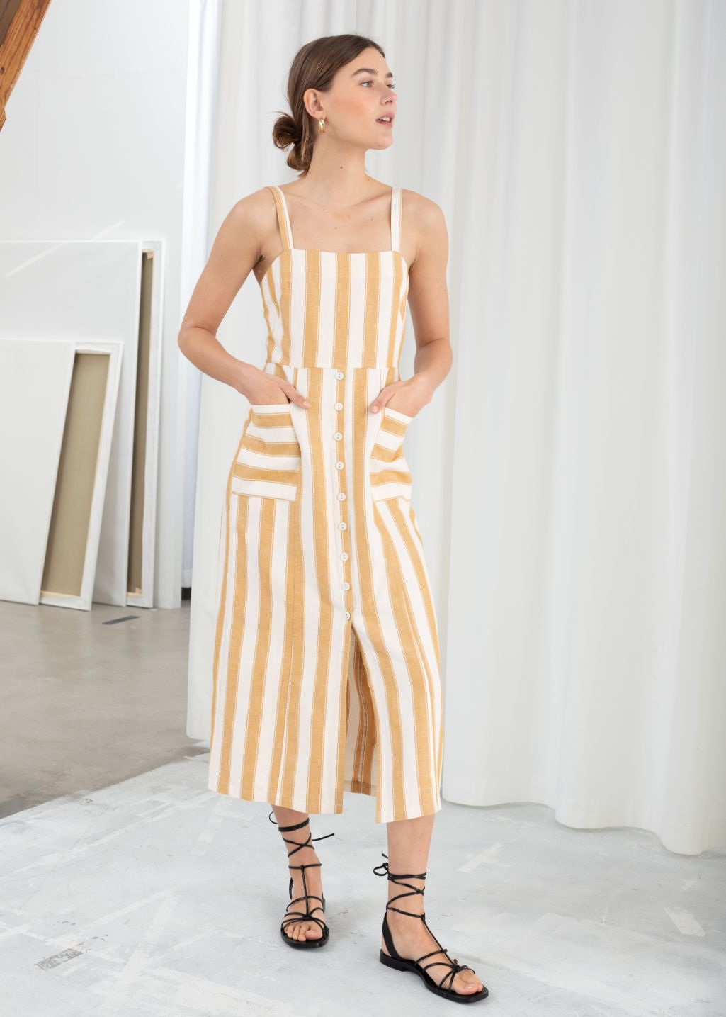fe75c1964520a Striped Cotton Linen Midi Dress - Stripe - Midi dresses - & Other Stories