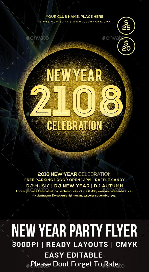 New Year Party Flyer Party flyer, Flyer template and Event flyers