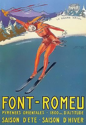 art deco font romeu pyrenees ski a3 art poster print. Black Bedroom Furniture Sets. Home Design Ideas