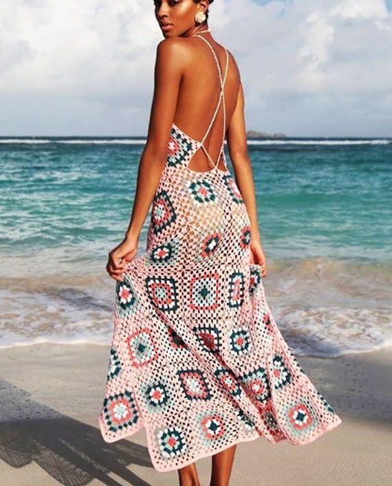 Lange Oma Quadrate häkeln Kleid Sommer Strand Oma Quadrate Braut bunten Maxi Replik Geschenk