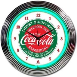 Coca-Cola Thirst Quenching Green Neon Clock