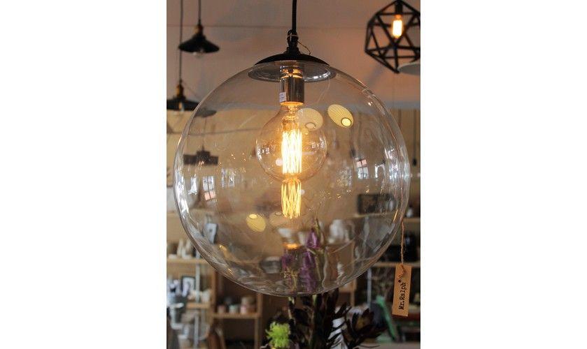 Mr Ralph | Glass Globe Pendant - 40cm - BLACK OR WHITE FITTINGS - ESSENTIALS, Pendants