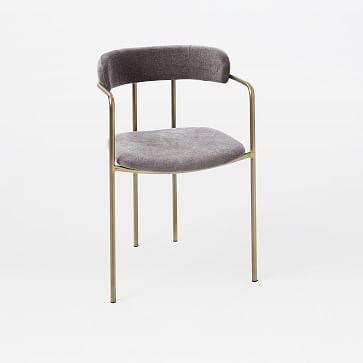 Lenox Dining Chair Worn Velvet Metal Blackened Br