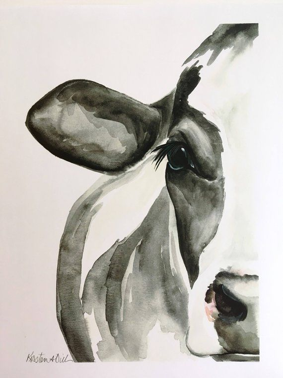 Holstein Cow Watercolor PRINT