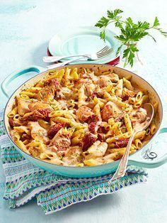 one pot pasta mit h hnchen tomaten rezept food pinterest leckeres mittagessen anbraten. Black Bedroom Furniture Sets. Home Design Ideas
