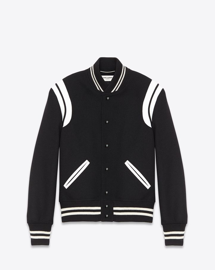 2cbb581640c SAINT LAURENT CLASSIC TEDDY JACKET BLACK WOOL AND IVORY LEATHER $ 2,190.00