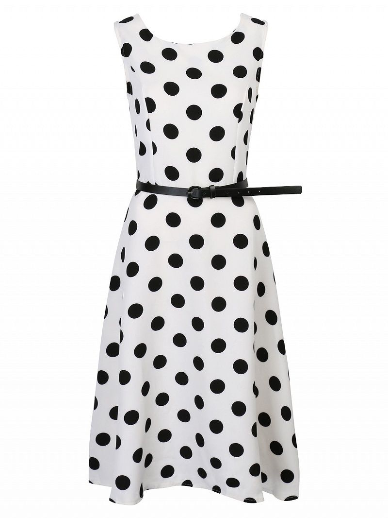 Non-stretch woven fabric All-over polka dot printed design Round neckline Skater dress styling Sleeveless Belted waist Zip back closure Hand wash cold 100%Polyester