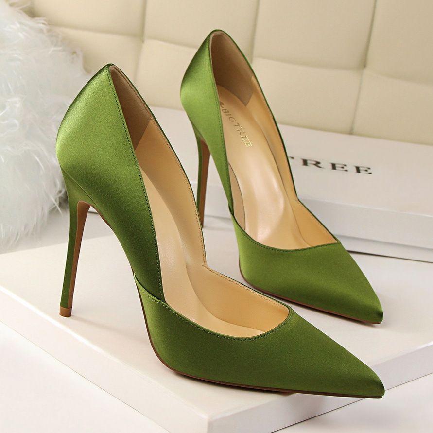 BIGTREE Brand Women Pumps Elegant Satin Shoes Green Heels Sexy High Scarpin Sapatos Femininos