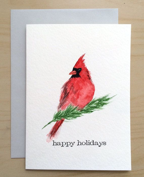 Hand Painted Holiday Card 5x7 Christmas Card Original Etsy Watercolor Cards Watercolor Christmas Cards Christmas Cards