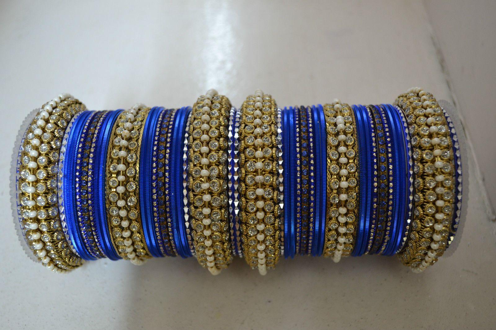 Gold tone blue wedding bangle bridal churi kada women bracelet set